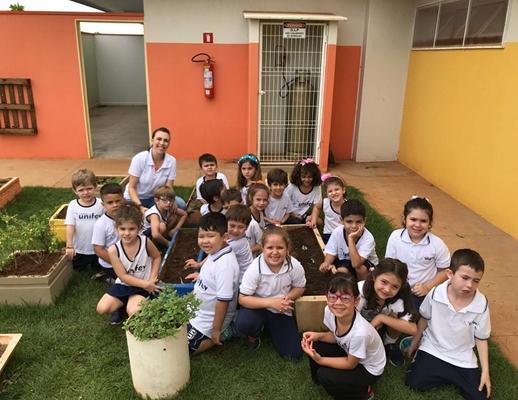 MÃOS NA TERRA: crianças do Colégio UNIFEV constroem minhocário