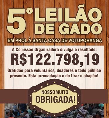 LEILÃO DE GADO ARRECADA MAIS DE R$122 MIL PRA SANTA CASA